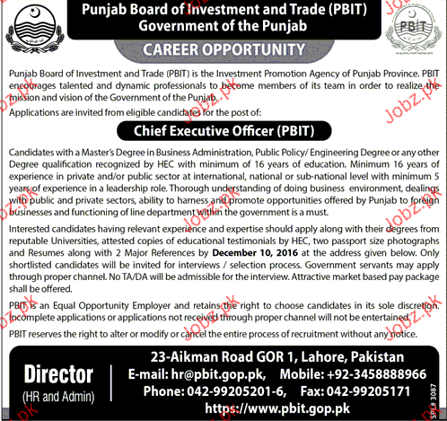 Chief Executive Officers Job Opportunity