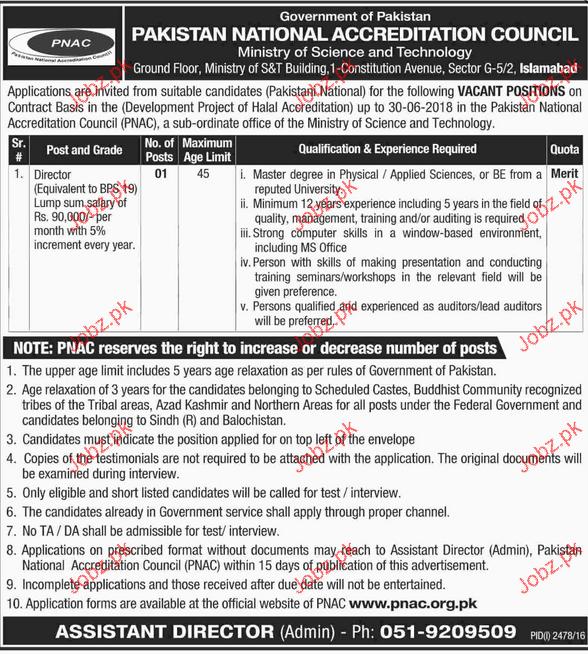 Director Job in Pakistan National Accreditation Council