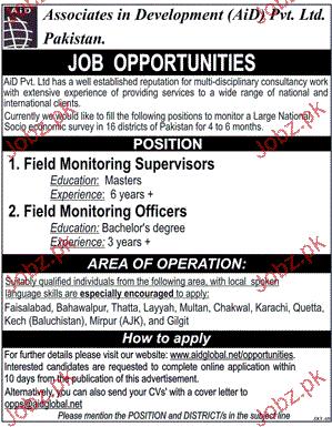 Field Monitoring Supervisor Job Opportunity