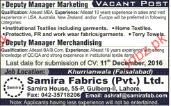 Deputy Manager Merchandising Job Opportunity