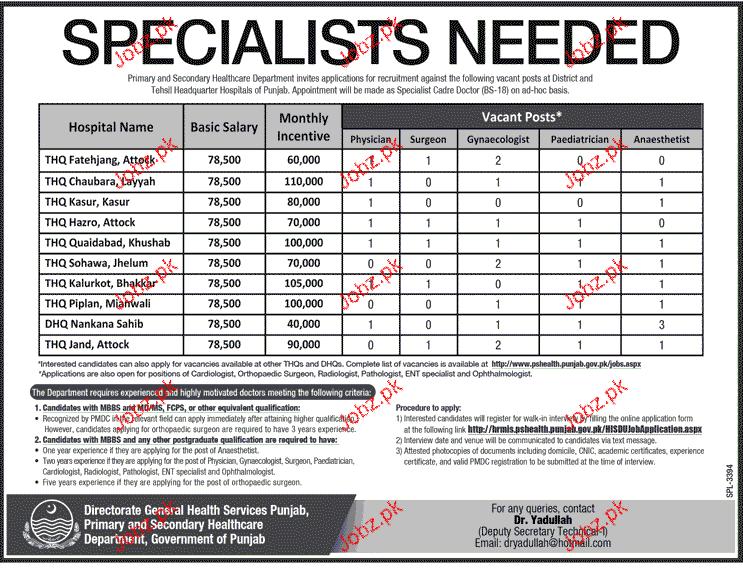 Specialists Doctors Job in Health Department