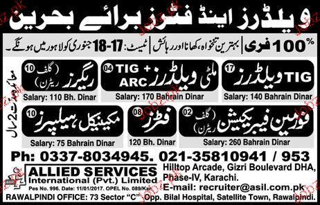 Tig Welders, Multi Welders, Riggers job opportunity