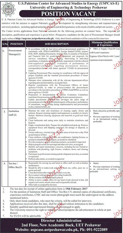 Procurement Manager, Sanitation Staff Job in UET