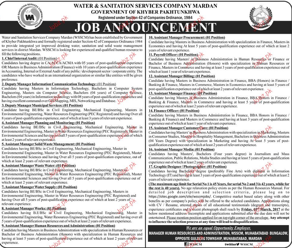 Chief internal Auditors, Payroll Officers Job Opportunity