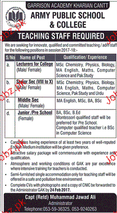 Lecturers and Teachers Job in Army Public School & College