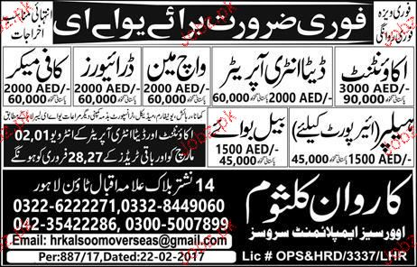 Accountant, Data Entry Operators, Watchman, Drivers Wanted