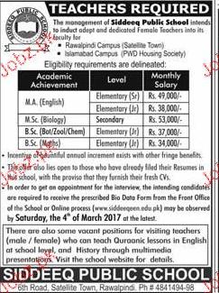 Teachers Job in Siddeeq Public School