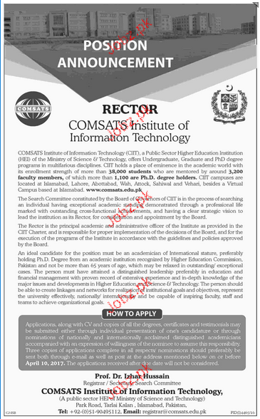 Rector Job in Comsats Institute of Information Technology