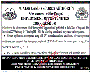 Male / Female Staff Job in Punjab Land Records Authority