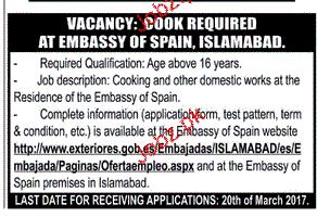 Cook Job in Embassy of Spain
