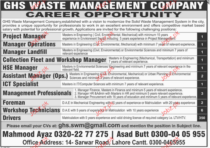 Project Manager, Manager Landfill Job Opportunity