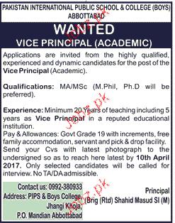 Vice Principal Job in Pakistan International School