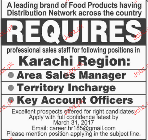 Area Sales Manager, Territory Incharge Job Opportunity