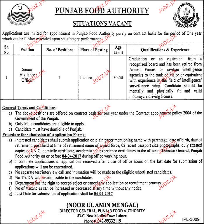 Senior Vigilance Officers Job in Punjab Food Authority
