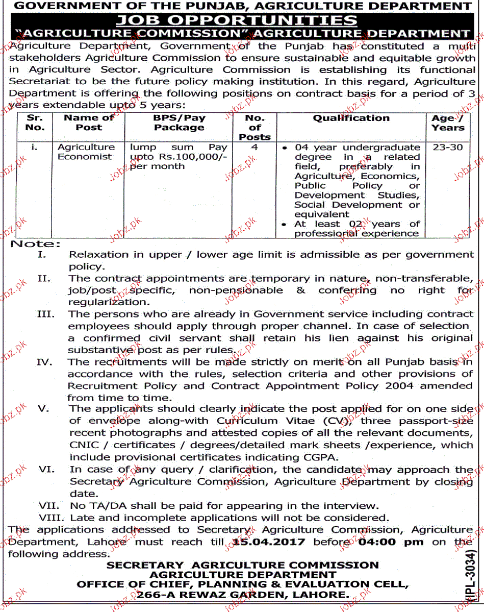 Agriculture Economists Job in Punjab Agriculture Department