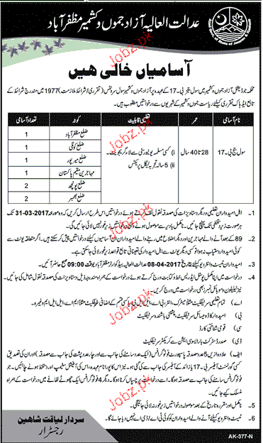 Recruitment of Civil Judges in AJK Court