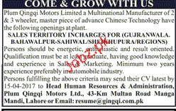 Sales Territory Incharge Job Opportunity