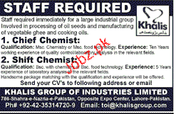 Chief Chemists and Shift Chemists Job Opporunity