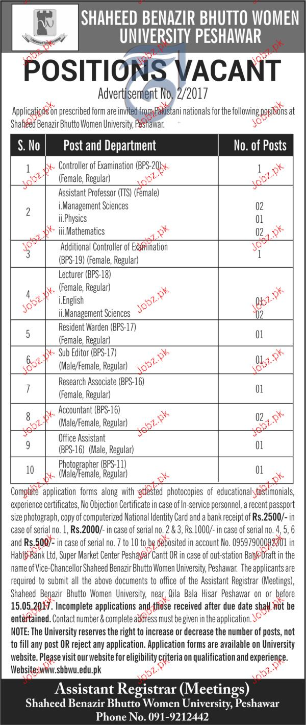 Controller of Examination, Assistant Professors Wanted