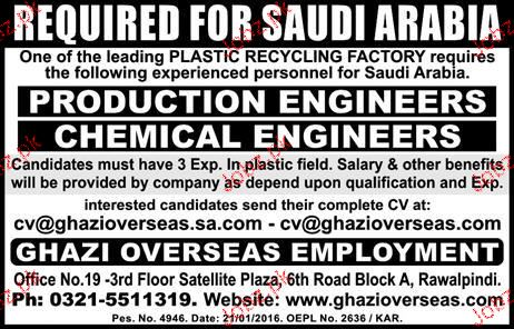 Production Engineers and Chemical Engineers Job Opportunity