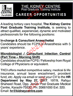Incharge, Consultants Anaesthetists Job Opportunity