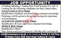 Accounts Assistants, Sales Executives  Job Opportunity