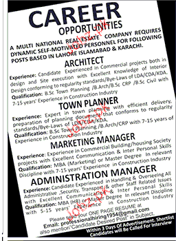 Architects, Town Planners, Marketing Manager Job Opportunity