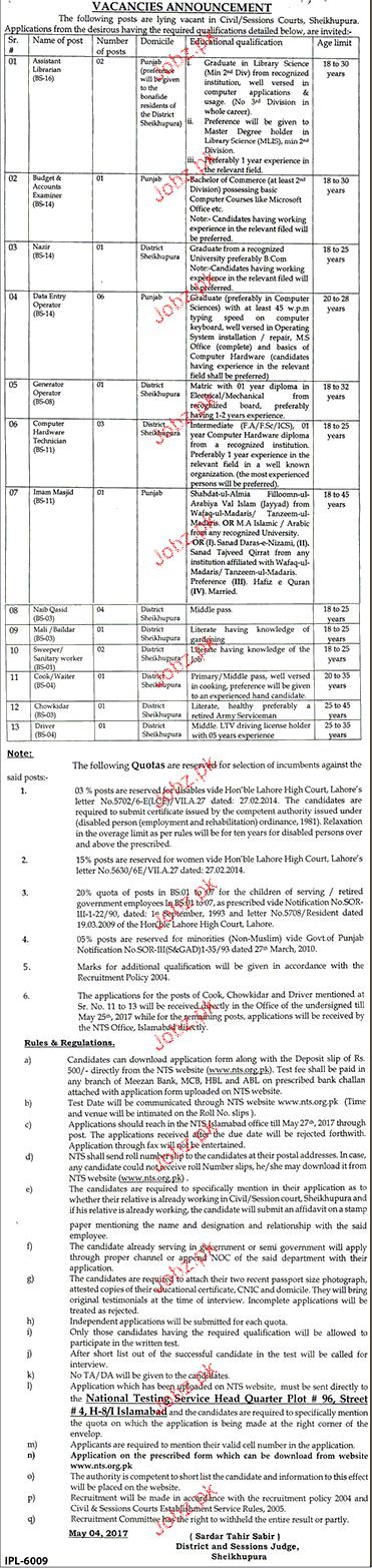 Civil / Session Courts Sheikhpura Career Opportunity