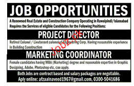 Project Director  and Marketing Coordinator Job Opportunity