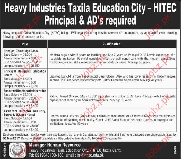 Principal in Heavy Industries Taxila Education City HITEC