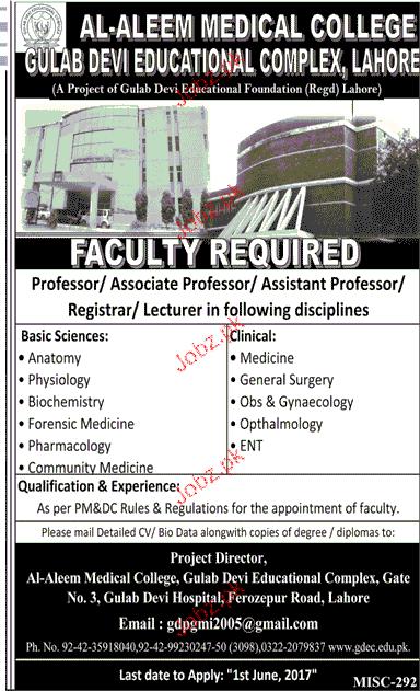 Teaching Jobs in Al Aleem Medical College