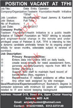 Data Entry operator jobs in Taleem Foundation health  TFHI
