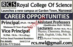 Principal, Vice Principal, Assistan Professor Wanted