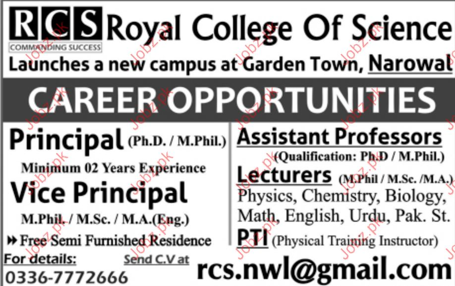 Principal Jobs Royal College Of Science.