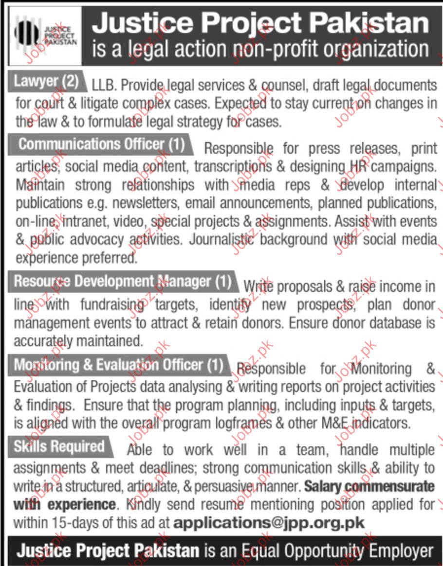 Lawyers & Communication Jobs In Justice Project Pakistan