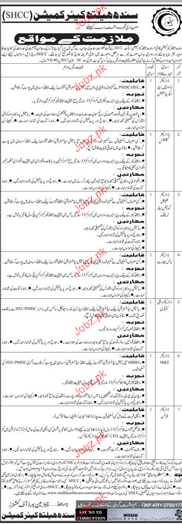 Sindh Health Care Commission SHCC Career Opportunity