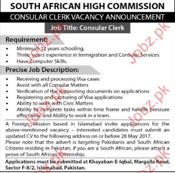 Consular Clerk for South African High Commission SAHC