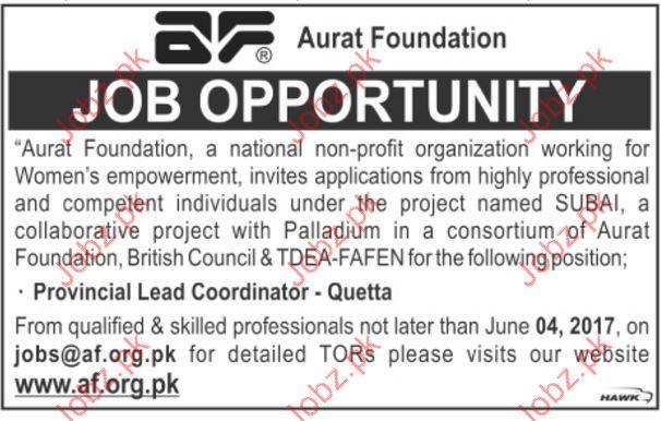Provincial Coordinator Jobs In Aurat Foundation NGO