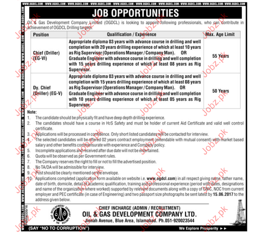 Chief Driller Jobs In Oil & Gass Development Company Limited