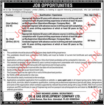 Dy. Chief Driller EG-V Jobs In OGDCL