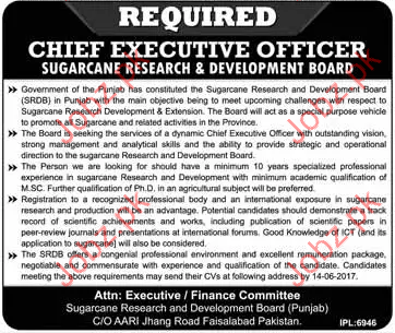 Executive Jobs In Sugarcane research & Development Board