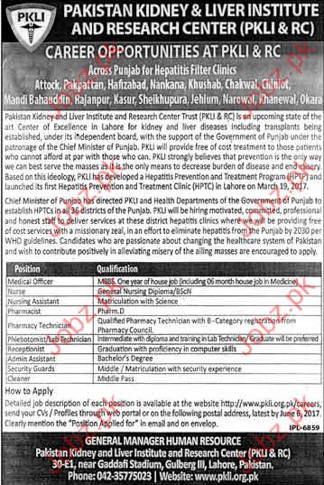 Medical Officer Jobs In Pakistan Kidney & Liver Institute