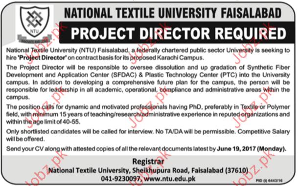 Project Director Jobs In National Textile University NTU
