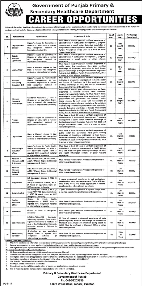 Project director Jobs I n Primary & Secondary Health Dept