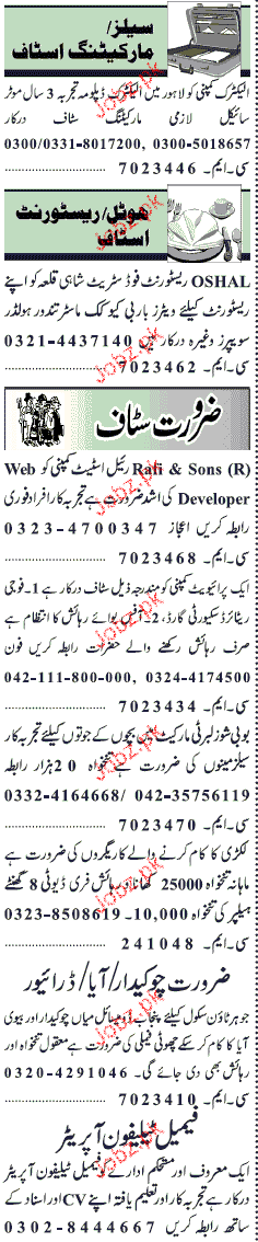 Electric Diploma Holders, Waiters, Cook Job Opportunity