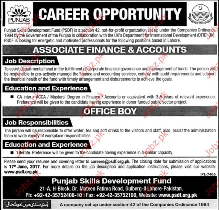 Finance &Accounts Jobs In Punjab Skill Development Fund PSDF