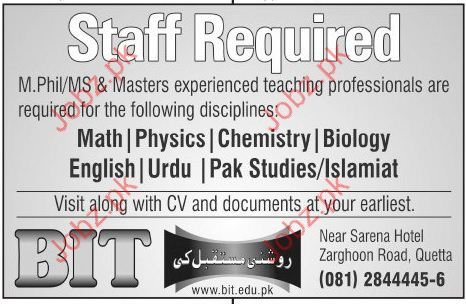 Teachers Jobs In BIT