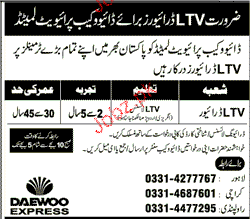 LTV Drivers Job in Daewoo Cab Private Limited
