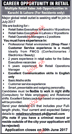 Retail Sales Executives Job Opportunity