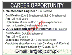 Maintenance Engineers and Mechanical Foreman Wanted